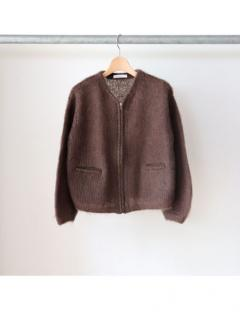 mohair zip-up knit cardigan