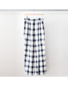 Rayon ombre check wrap slacks (NVY)