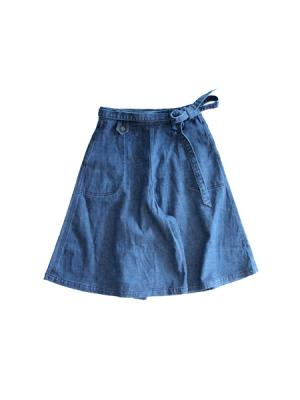 Denim culotte skirt (INDIGO)