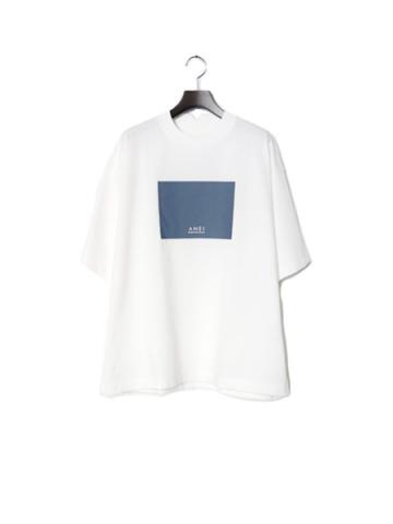 BOX LOGO TEE W LOOSE (WHITE×BLUE GRAY)