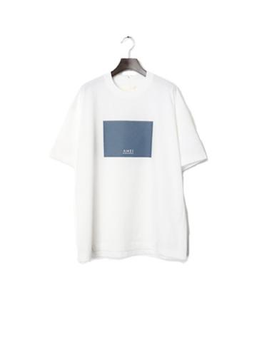 BOX LOGO TEE W  (WHITE×BLUE GRAY)
