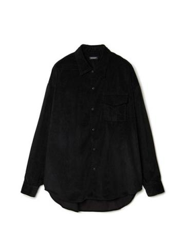 Patch-pocket Narrow Wale Button Shirt (BLK)