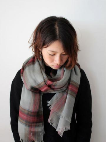 Tencel cashmere check stole (GRY)サブイメージ2