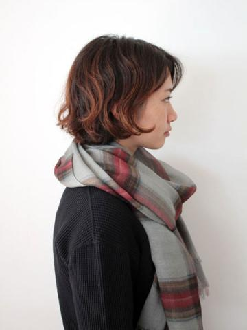 Tencel cashmere check stole (GRY)サブイメージ3