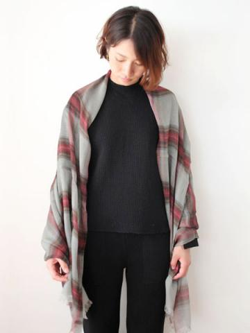 Tencel cashmere check stole (GRY)サブイメージ4