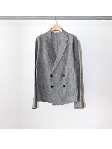 linen double breasted shirts jacket (CHECK)