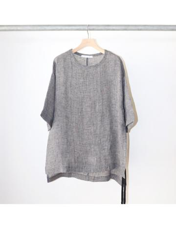 side slit Linen tee (BLACK CHECK)