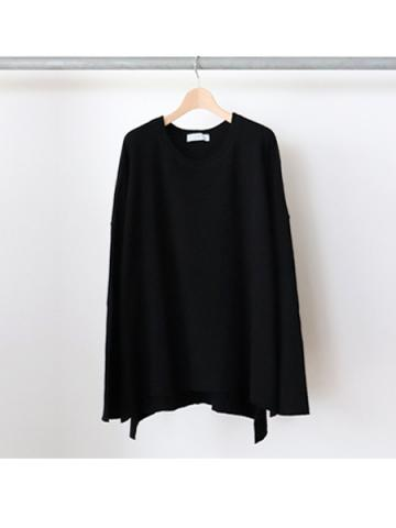 long sleeve side slit knit t-shirts (BLK)