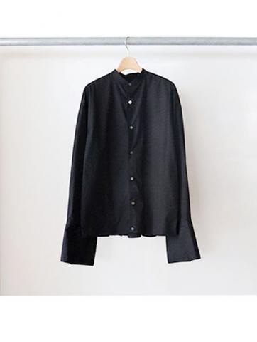 Back zip band collar shirts (BLK)