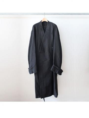 Oversized collar less coat (BLK)