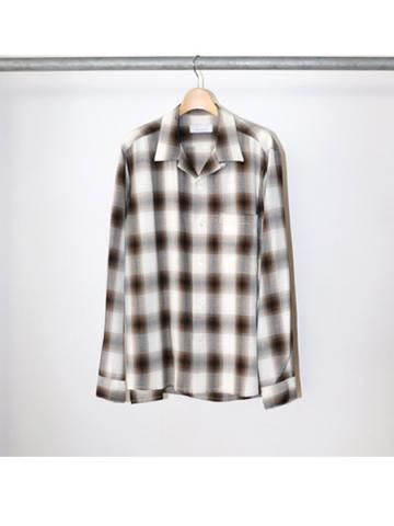 Rayon ombre check open collar shirt -BOYS- (BRN)