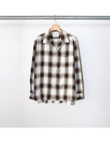 Rayon ombre check open collar shirt (BRN)