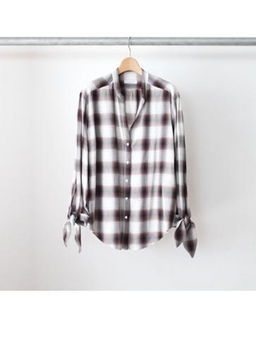 Rayon ombre check ribbon shirt (BRN)