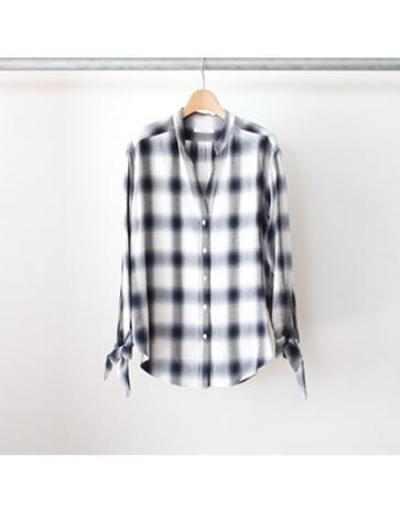 Rayon ombre check ribbon shirt (NVY)