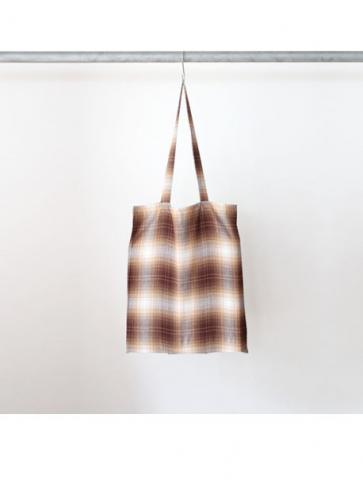 Rayon ombre check tote bag (BRN)