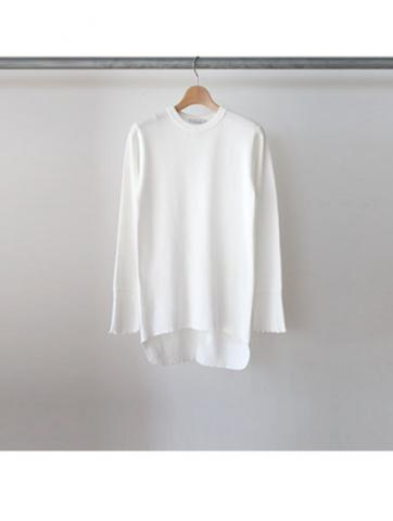 honeycomb crew neck L/S (WHT)