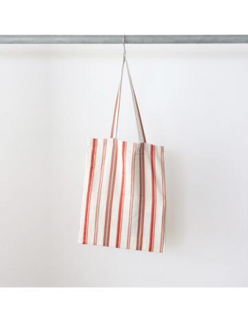 Cotton linen rayon stripe tote bag (RED)