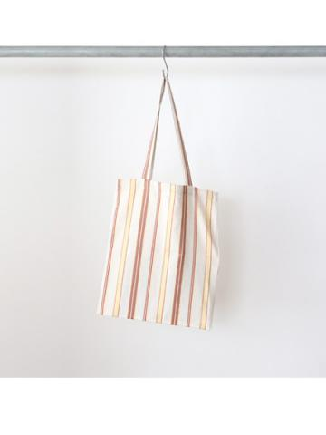 Cotton linen rayon stripe tote bag (YEL)