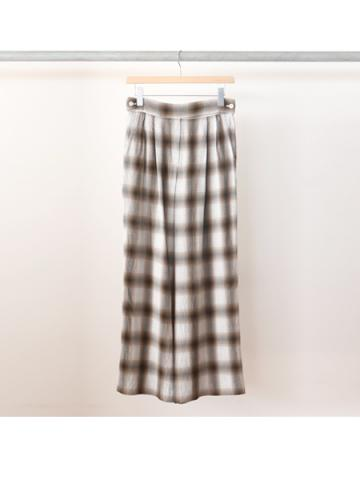 Rayon ombre check 2 tuck slacks (BRN)