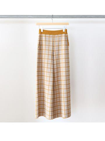 14G check jacquard knit pants