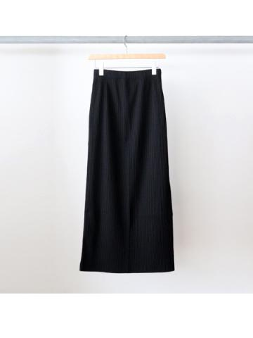 Pe/c wide rib side slit maxi skirt (BLK)
