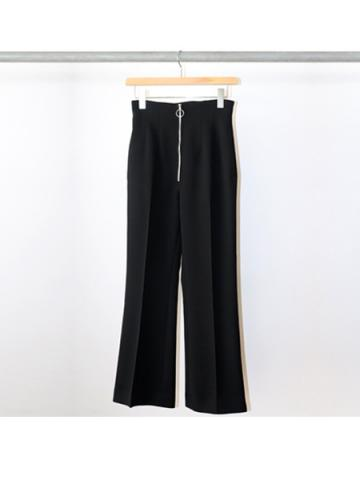 Twill high waist flared slacks (BLK)