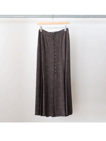 Rayon dot button-down skirt (BRN)