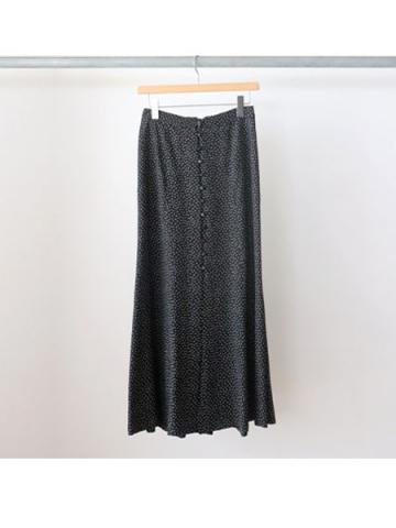 Rayon dot button-down skirt (BLK)