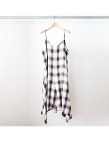 Rayon ombre check camisole dress
