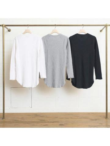 cotton and cashmere long-sleeve honeycomb T-shirtサブイメージ1
