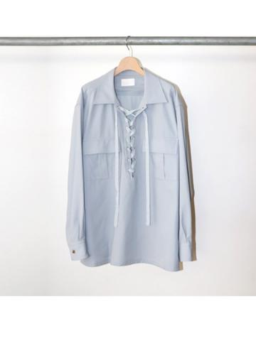 Cotton gabardine lace up shirts (SAX)