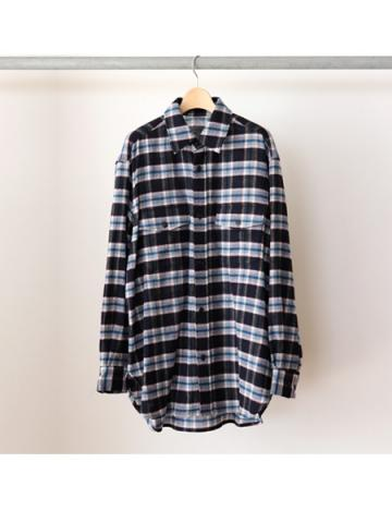 Wool check L/S shirts (NVY)