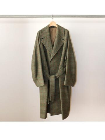 Wool check belted coat(GRN)