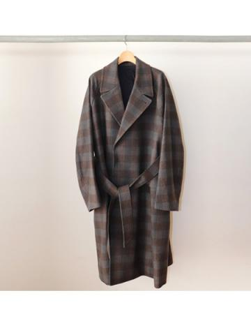 Wool check belted coat(GRY)
