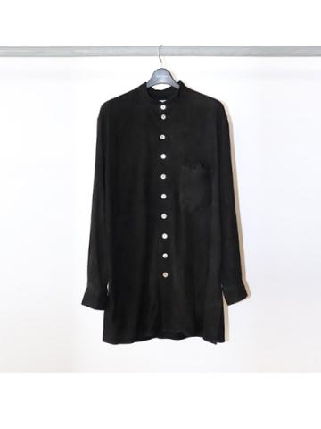 Suede leather blouse (BLK)