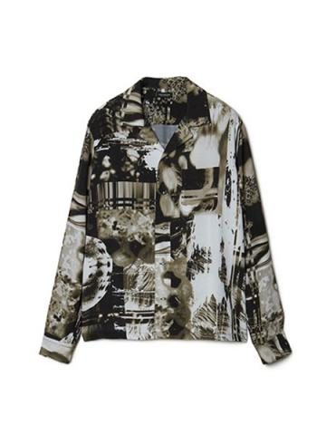 Graphic Print Open-collar Long Sleeve Shirt (BLK)