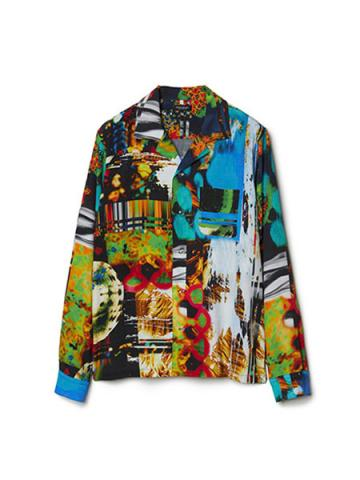 Graphic Print Open-collar Long Sleeve Shirt (MLT)