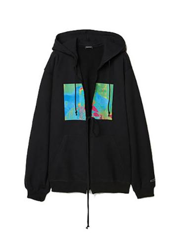 Graphic Print Oversized Hoodie (BLK)