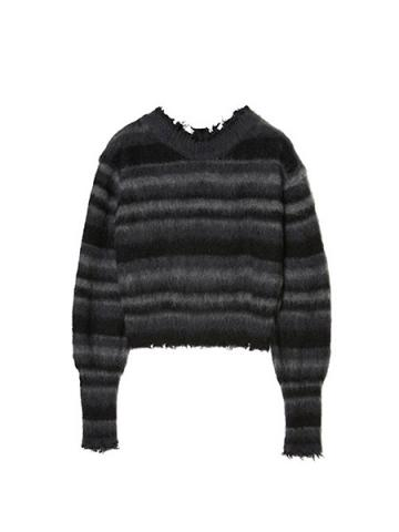 Mohair Damaged Knit Sweater (GRY)