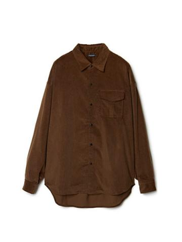 Patch-pocket Narrow Wale Button Shirt (BRN)