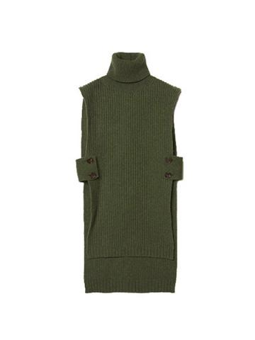 Turtleneck Knit Long Vest (KHA)