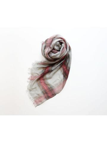 Tencel cashmere check stole (GRY)