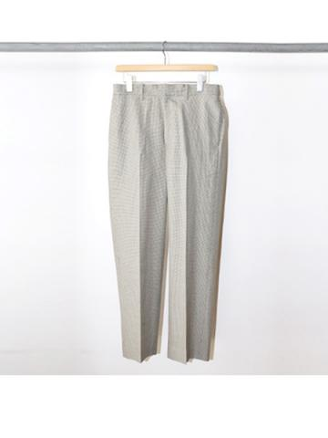 WOOL COTTON SILK CHECK / STRAIGHT PANTS (KHA)