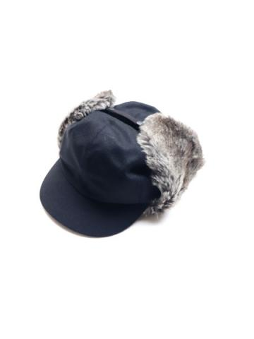 FLANNEL WOOL FUR EAR CAP (BLK)