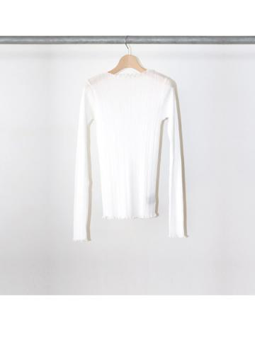 Cotton nylon rib frill crew neck (WHT)