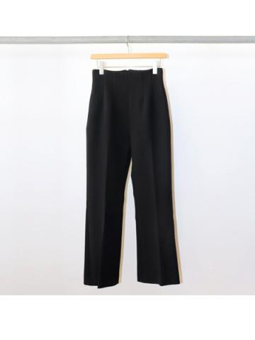Double cloth high waist semi flared slacks (BLK)