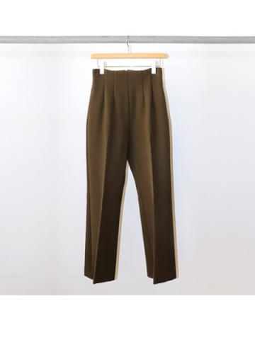 Double cloth high waist semi flared slacks (KHA)