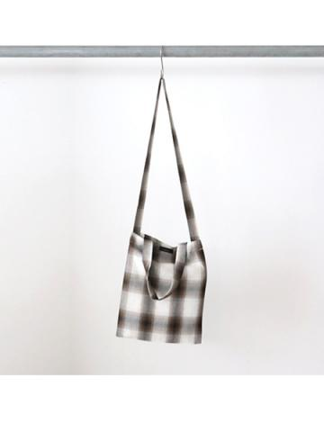 Rayon ombre check 2way tote bag (BRN)