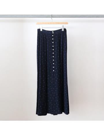 Rayon dot button-down skirt (NVY)
