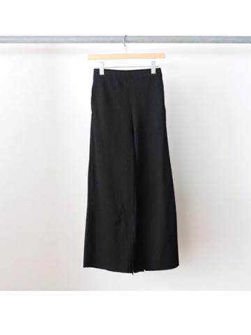 Pe/c wide rib slit pants (BLK)